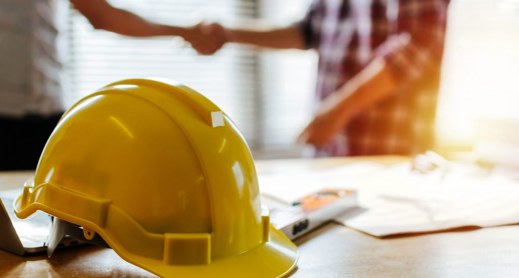 Construction Worker Team Hands Shaking Greeting Start Up Plan Ne